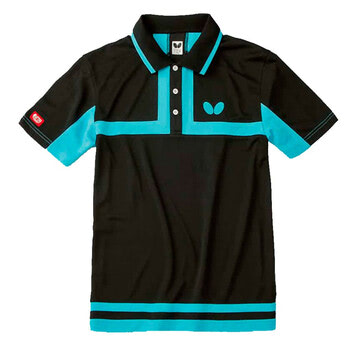 Butterfly Poltieh Shirt - Black/Aqua Blue