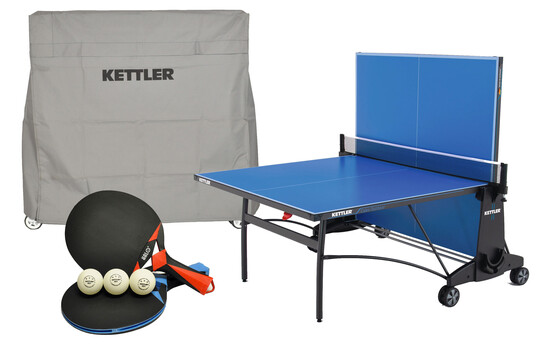 KETTLER Cabo Outdoor Bundle w/2-Racket Set, Balls and Table Cover