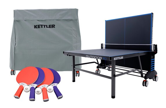 KETTLER Outdoor 10 Bundle w/4-Racket Set, Balls and Table Cover