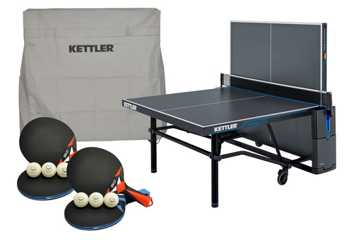 KETTLER Outdoor 15 Bundle w/4-Racket Set, Balls and Table Cover