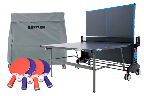 KETTLER Outdoor 6 Bundle w/4-Racket Set, Balls and Table Cover